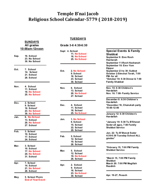 Religious Calendar 2019 Religious School Calendar 2018 2019 | Temple B'nai Jacob of Wellington